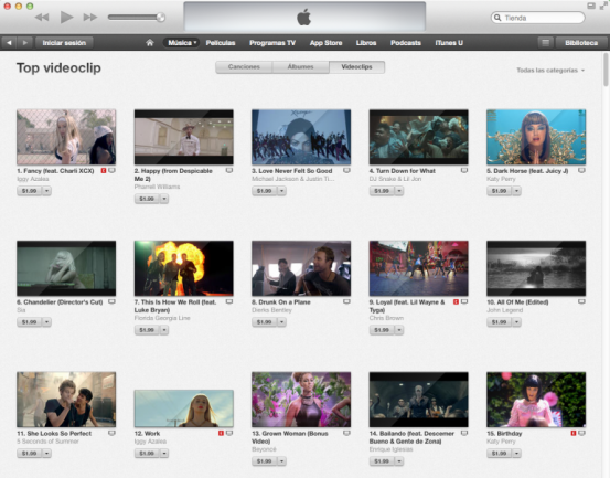 Videoclips iTunes