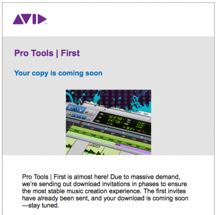 Invitación a descarga de Pro Tools First