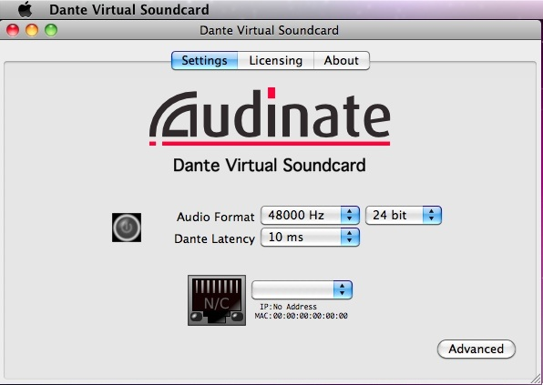 DANTE Virtual Soundcard
