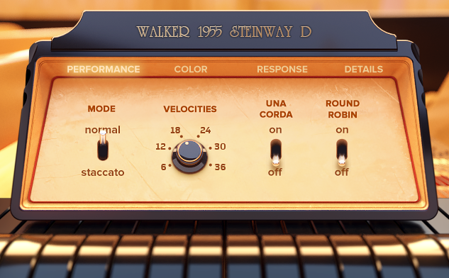 Interfaz del piano virtual Walker 1955 Steinway