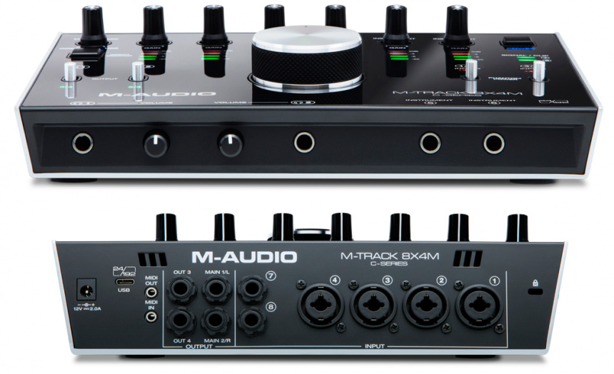 M-Audio M-Track 8X4M frontal y panel trasero