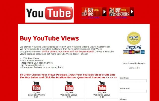 Visualizaciones de youtube falsas