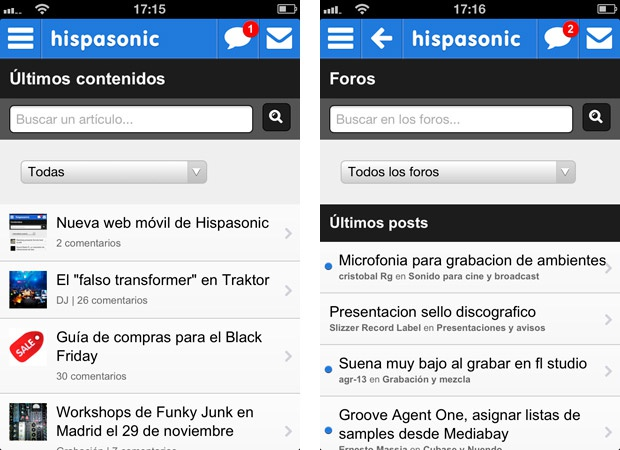 Web móvil Hispasonic