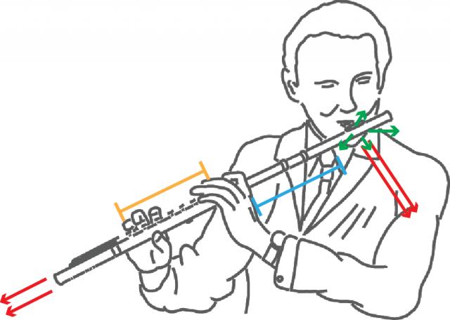 Esquema de producción de sonidos en una flauta