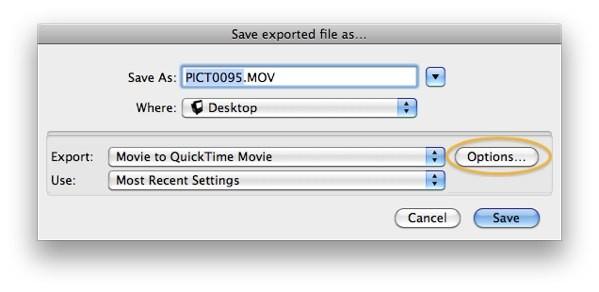 Logic Pro - Archivo > Exportar > Opciones