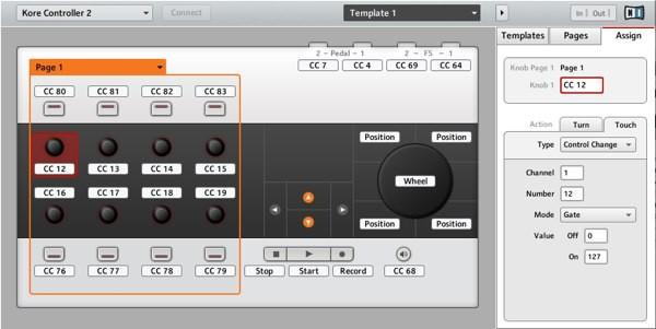Modo de control MIDI Kore