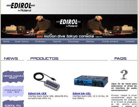 Nuevo portal de Edirol en castellano