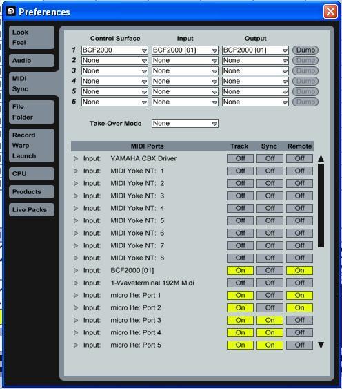 Ventana de configuración MIDI