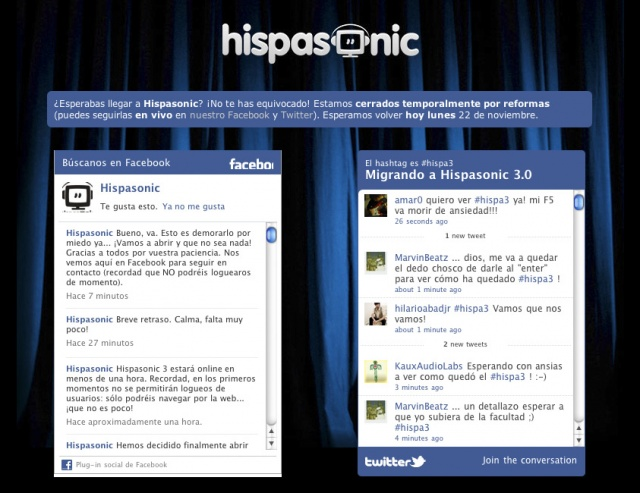 Telón de espera para Hispasonic 3.0