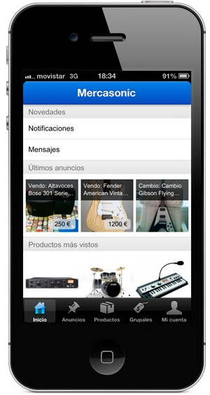 Mercasonic app para iOS, iPhone e iPod