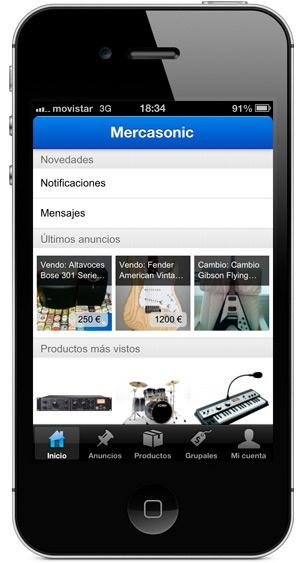 Mercasonic app para iOS, iPhone e iPod