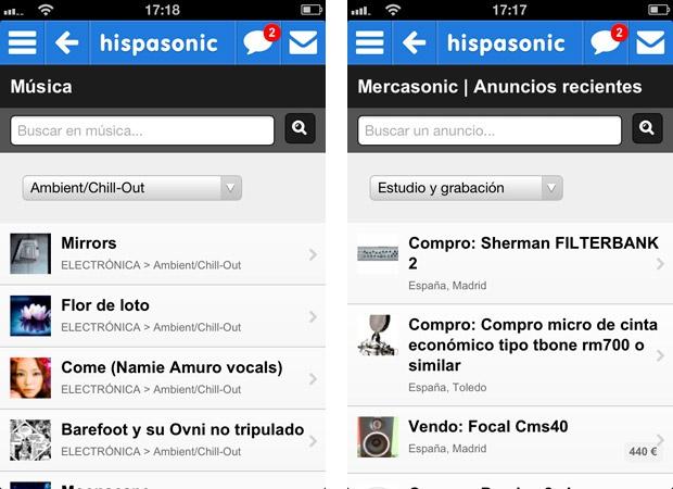 Web móvil Hispasonic
