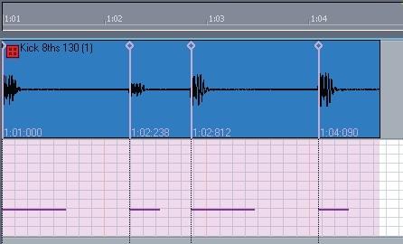Audiosnap pista audio y midi con notas visibles