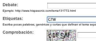 GTW etiqueta