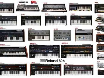 Samples de SpecDrum y pósters con sintes clásicos de Roland y Korg