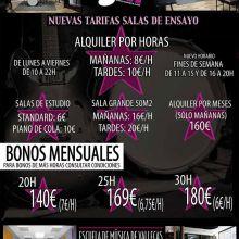 ESMUVA: escuela de música, salas de ensayo (10€/h), estudio de grabación (35€/h)