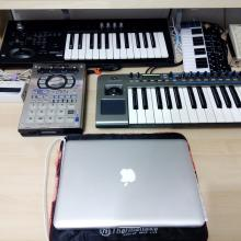 Home-studio: Novation Xiosynth, Korg MicroX, Roland SP-404, Yamaha UW10, Macbook Pro, Akai LPD8, SoundArt Chameleon, Korg Nanokey