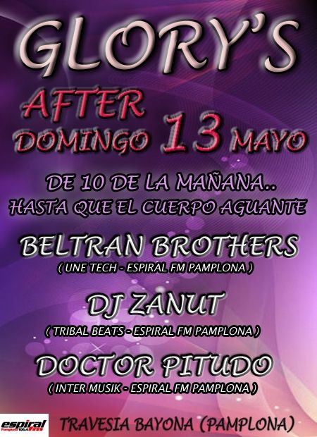 After Glory's - Domingo 13 de Mayo