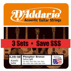 D'Addario EJ15 - Phosphor Bronze Extra Light (pack 3 juegos)