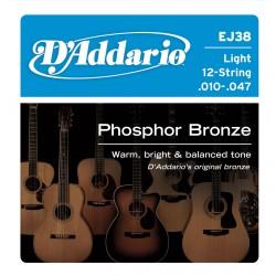 D'Addario EJ38 - Phosphor Bronze Ligh 12 String [10-27]