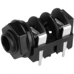 Adam Hall Connectors 7203 PCB 02 - Conector Chasis Jack 6,3 mm con Interruptor mono para Montaje PCB negro
