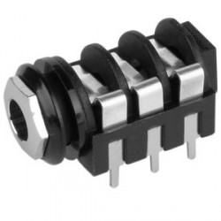 Adam Hall Connectors 7217P CB 02 - Conector Chasis Jack 6,3 mm con Interruptor estéreo negro
