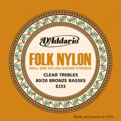D'Addario EJ33 Folk Nylon, Ball End, 80/20 Bronze/Clear Nylon