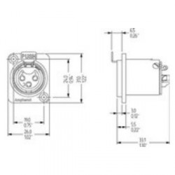 Amphenol Serie AC - Conector Chasis XLR hembra universal negro