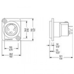Amphenol Serie AC - Conector Chasis XLR macho universal negro