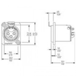 Amphenol Serie AC - Conector Chasis XLR hembra 4 Pines universal