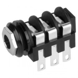 Adam Hall Connectors 7217 - Conector Chasis Jack 6,3 mm con Interruptor estéreo negro