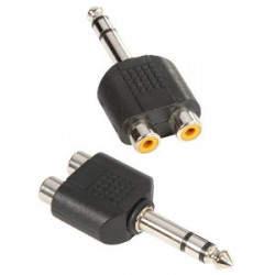 Adam Hall Connectors 7549 - Adaptador en Y de 2 RCA hembra a Jack 6,3 mm macho estéreo
