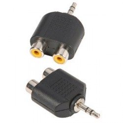 Adam Hall Connectors 7550 - Adaptador en Y de 2 RCA hembra a Minijack 3,5 mm macho estéreo