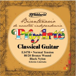 D'Addario EJ47B 80/20 Bronze Pro-Arte Black Nylon, Normal Tension
