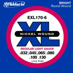 D'Addario EXL170-6 Nickel Wound, Light, [32-130], Long Scale